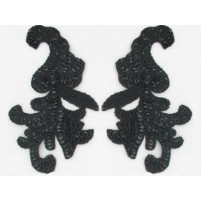 Sequin bead leaf motif Black