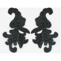 Sequin bead leaf motif Black