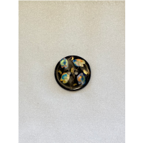 Buttons by jones sort med blomster