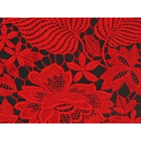 Floral all over crochet lace Red