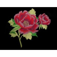 Imperial embroidered flower motif Cherry red / Purple