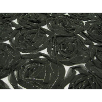 Ribbon rose on stretch net Black And Silver