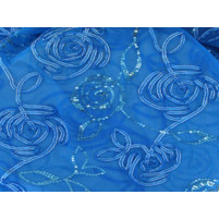 3d sequin flower trail embroidery on stretch net Elektric blue