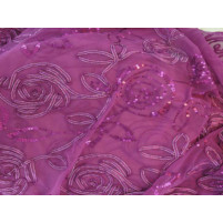 3d sequin flower trail embroidery on stretch net Fuchia pink