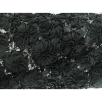 3d open flower & sequin embroidery Black