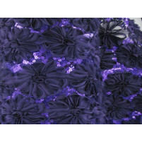 3d open flower & sequin embroidery Deep purple rain