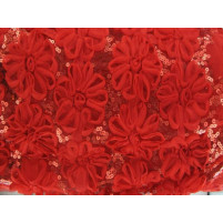 3d open flower & sequin embroidery Red