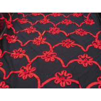 3d trailing flower embroidery on stretch net Red and black