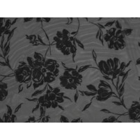 Bold flower flock on stretch net Black