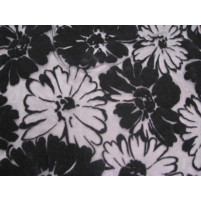 Floral parade flock on stretch net Black