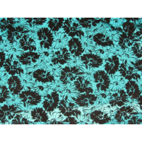 Floral parade flock on stretch net Jade