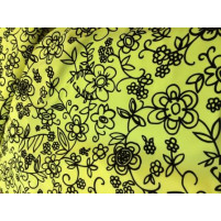 Flower sketch on lycra Flou. yellow