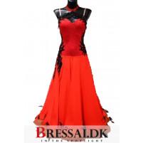 Rød/sort standard kjole