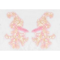 Sequin bead leaf motif Sugar pink