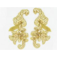 Sequin bead leaf motif Gold
