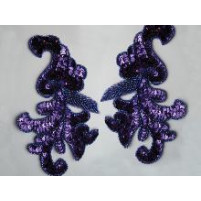 Sequin bead leaf motif Hot magenta