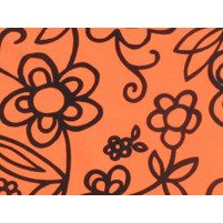 Flower sketch on lycra Orange